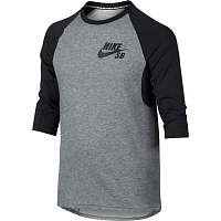 Nike B NK DRY TOP 3QT SLEEVE ICON CARBON HEATHER/ANTHRACITE/ANTHRACITE