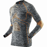X-Bionic EVO MELANGE UW SHIRT SH_SL.ROUND NECK Grey Melange/Orange