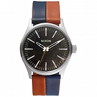 Nixon SENTRY 38 LEATHER Dark Copper/Navy/Saddle