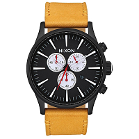 Nixon SENTRY CHRONO LEATHER All Black/Goldenrod