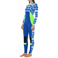 Glidesoul FULL WETSUIT 3/2MM BACK ZIP T&D Print/Blue/Lemon