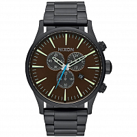 Nixon Sentry Chrono ALL BLACK/BRASS/BROWN