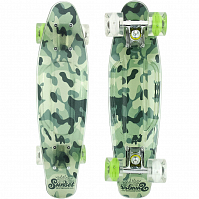 SUNSET SKATEBOARDS CAMO GRIP COMPLETE 22 GREEN CAMO DECK-WHITE/GREEN WHEELS