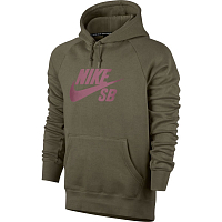Nike SB ICON PO HOODIE MEDIUM OLIVE/ELEMENTAL PINK