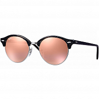 RAY BAN CLUBROUND TOP WRINKLED BLACK ON BLACK/BROWN MIRROR PINK