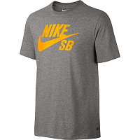 Nike SB LOGO TEE DK GREY HEATHER/LASER ORANGE