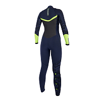 Mystic DIVA FULLSUIT 5/3MM DOUBLE FZIP WOMEN navy/lime