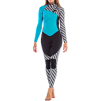 Glidesoul FULL WETSUIT 3MM CHEST ZIP Stripes Print/Black/Blue