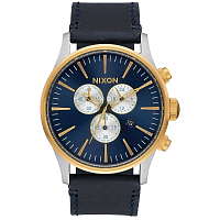 Nixon SENTRY CHRONO LEATHER GOLD/BLUE SUNRAY
