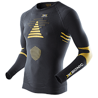 X-Bionic SKI TOURING_EVO MAN UW SHIRT LG SL V-NECK Black/Yellow Sunshine