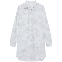 ENGINEERED GARMENTS ROUNDED COLLAR SHIRT WHITE/GREY SHADOW FLORAL PRINT
