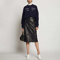 PROENZA SCHOULER WHITE LABLE LIGHTWEIGHT LEATHER PENCIL SKIRT BLACK