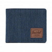 Herschel ROY RFID INDIGO DENIM CROSSHATCH/SADDLE BROWN