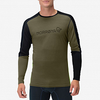 NORRONA EQUALISER MERINO ROUND NECK OLIVE NIGHT/FOLIAG