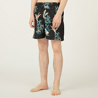 Carhartt WIP DRIFT SWIM TRUNK HAWAIIAN FLORAL PRINT, BLACK