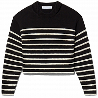 Proenza Schouler White Label Boucle Stripe Sweater BLACK/OFF WHITE