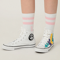 Converse CHUCK TAYLOR ALL STAR HI WHITE/PURPLE GLITTER PU