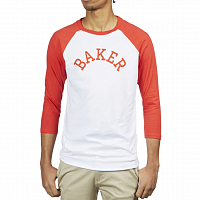 Baker MAJOR RAGLAN TEE WHITE/RED