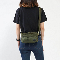 PORTER YOSHIDA FORCE 2WAY WAIST BAG Olive Drab