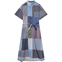 ENGINEERED GARMENTS BD SHIRT DRESS MULTI RANDOM SQUARE PATCHWORK PRINT
