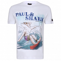 PAUL AND SHARK COTTON T-SHIRT WITH SHARK PRINT WHITE