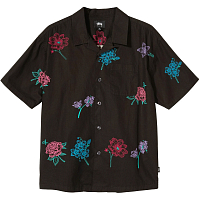 STUSSY HAND DRAWN FLOWER SHIRT BLACK